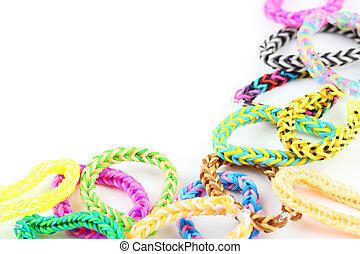 fondo, colorito, elastico, braccialetti, bianco