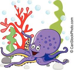 fondo, colorito, viola, illustrazione, mare, sotto, coralli, bianco, polpo