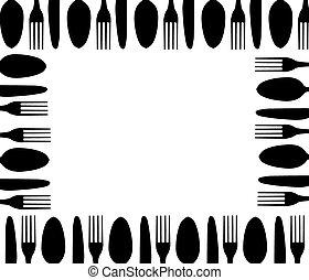 fondo, coltelleria, nero, bianco
