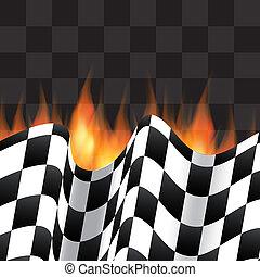 fondo, con, bandierina checkered