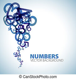 fondo, con, blu, numeri