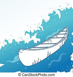 fondo, con, boat.