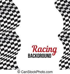 fondo, con, checkered, da corsa, flag.