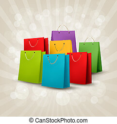 fondo, con, colorito, shopping, bags., scontare, concept., vettore, illustration.