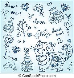 fondo, con, differente, carino, animali, e, oggetti