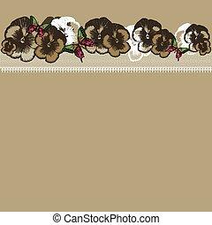 fondo, con, floreale, ornamento, e, laccio, hand-drawing., vettore, io