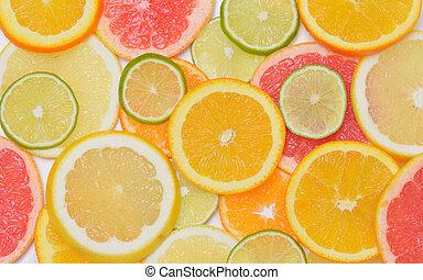 fondo, con, frutta agrume