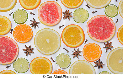 fondo, con, frutta agrume, fette
