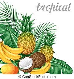 fondo, con, frutte tropicali, e, leaves., disegno, per,...