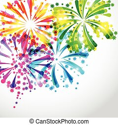 fondo, con, luminoso, colorito, fireworks, e, saluto