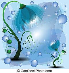 fondo, con, magia, mamma, e, bambino, azzurro, fiori, (available, vector)