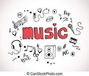 fondo, con, musica, elementi