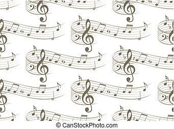 fondo, con, musica, note.