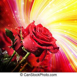 fondo, con, rose rosse