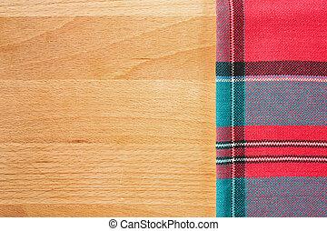 fondo, con, tovaglia, sopra, legno, tagliere