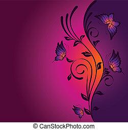 fondo, con, tropicale, farfalla