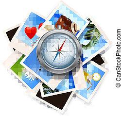 fondo, con, viaggiare, foto, e, compass., vettore