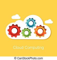 fondo., concept., tecnologia, nuvola, calcolare