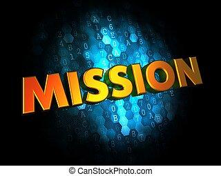 fondo., concepto, misión, digital