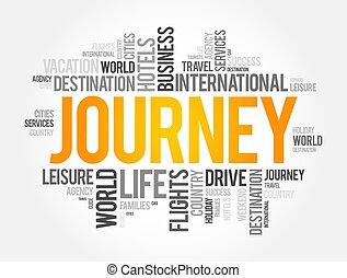 fondo, concetto, parola, nuvola, collage, viaggiare, viaggio