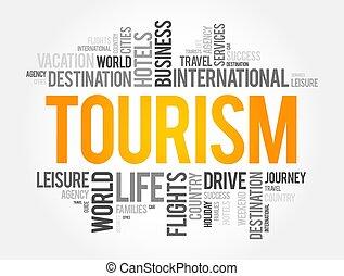fondo, concetto, turismo, parola, nuvola, collage, viaggiare