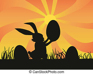 fondo, coniglio pasqua, presa a terra, uovo, giorno