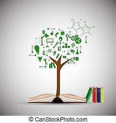 fondo., conocimiento, vector, árbol