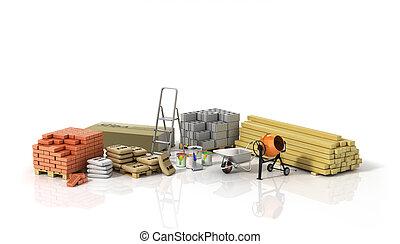 fondo., construcción, materiales, wtite