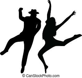 fondo., coppia, ballerini, silhouette, bianco