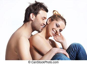 fondo., coppia., bianco, giovane, felice, isolato, sopra