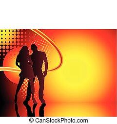 fondo., coppia, estate, silhouette, grunge, bello