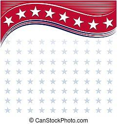 fondo, cornice, americano, stelle, scheda