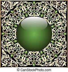fondo, cornice, con, palla vetro, ornamenti, e, oro