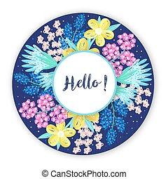 fondo, cornice, mano, cerchio, colorito, fiore, disegnato, artistico, creativo, design., floreale, flowers., astratto