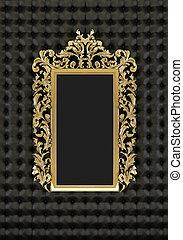 fondo, cornice, nero, lusso, oro
