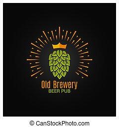 fondo, corona, nero, luppolo, logotipo, fabbrica birra