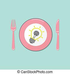 fondo, creativo, cervello, bulbo, luce, idea, concetto