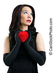 fondo, cuore, isolato, femmina, bianco rosso