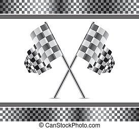 fondo, da corsa, bandiere, vettore