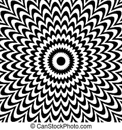 fondo., deformation., negro, blanco, radial, líneas, resumen