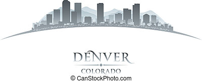 fondo, denver, colorado, orizzonte, città, silhouette, bianco