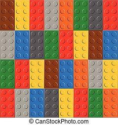 fondo, di, plastica, costruzione, blocco