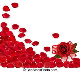 fondo, di, rosso sorto, petals.