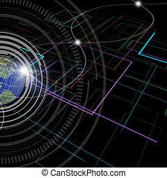 fondo, di, tecnologia, con, globo terra