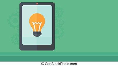 fondo digital, tableta, lightbulb.