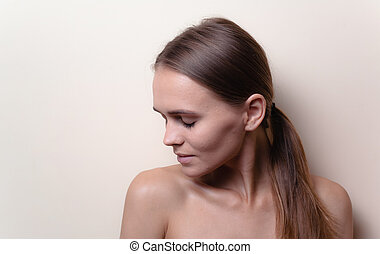 fondo, diretto, closeup, bello, giovane, ritratto, donna, -,...