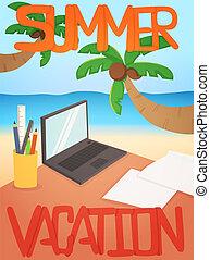 fondo, disegno, vacanza, scheda