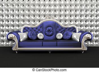 fondo, divano, lussuoso, cuscino, interno, buttoned