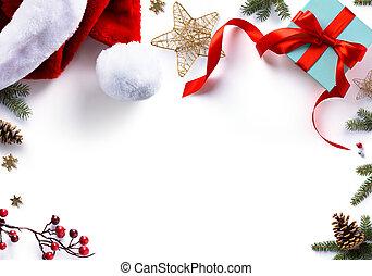 fondo, dolce, regalo, decorazioni, bianco, vacanze, natale