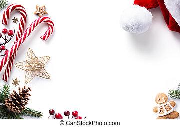 fondo, dolce, vacanze, decorazioni, natale bianco